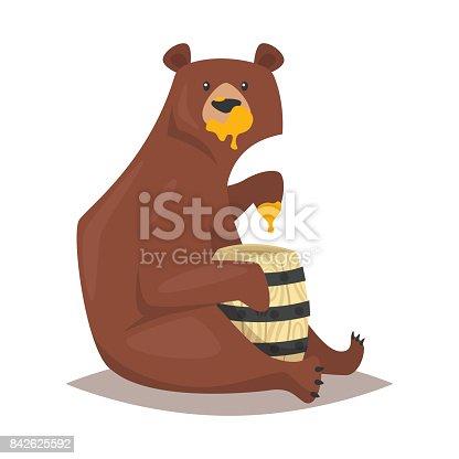 istock bear eating sweet honey 842625592