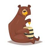 Vector cartoon style bear eating sweet honey. Isolated on white background.