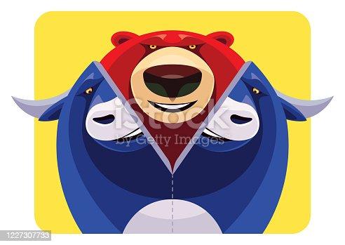vector illustration of bear emerging from bull costume