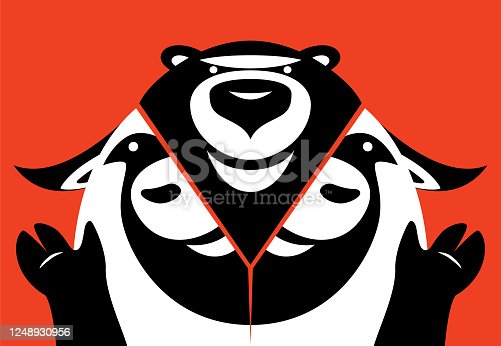 vector illustration of bear emerging from bull head and waving