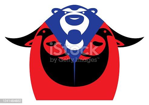 vector illustration of bear emerging from bull head