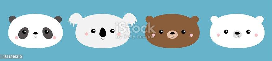 Bear face set. Cute koala, grizzly, panda, polar cub. Funny head. Kawaii cartoon character. Happy Valentines Day. Notebook cover, tshirt. Baby greeting card template. Blue background. Flat design.