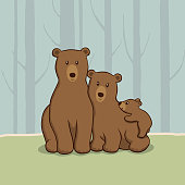 Papa bear, Mama bear and baby bear vector illustration