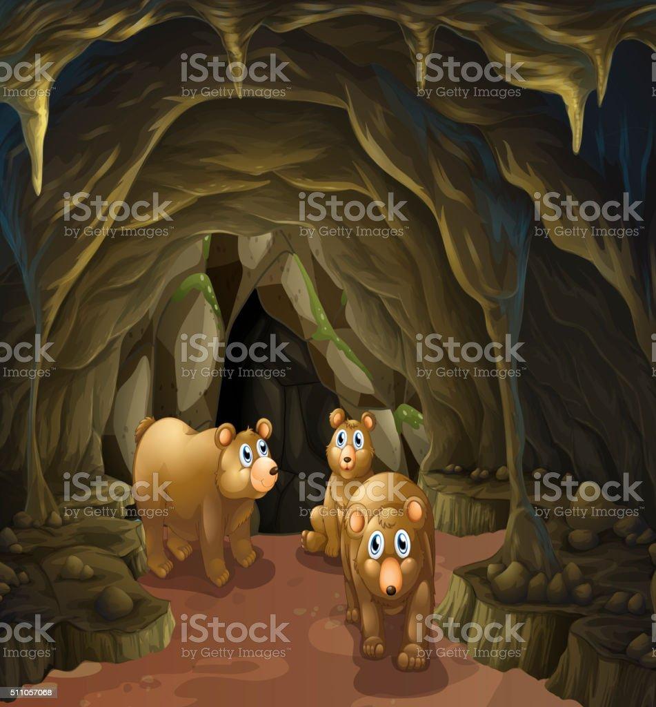 Bear family living in the cave vector art illustration