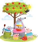 Bear Family Mother with Kids Eating Apple Jam