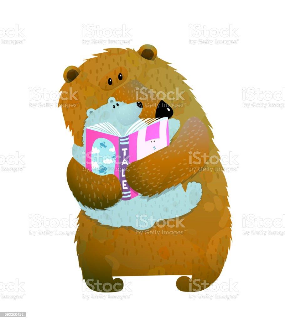 Bear family reading vector art illustration