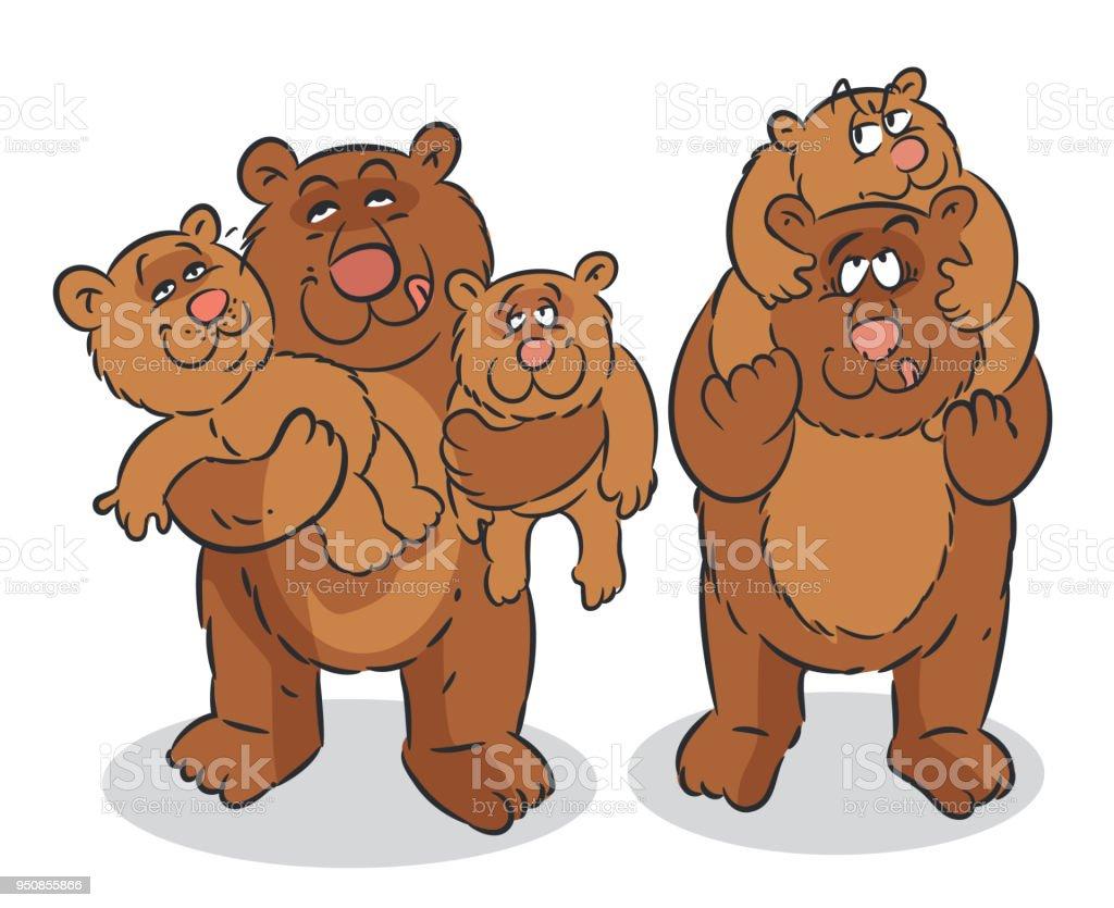 Bear Family vector art illustration