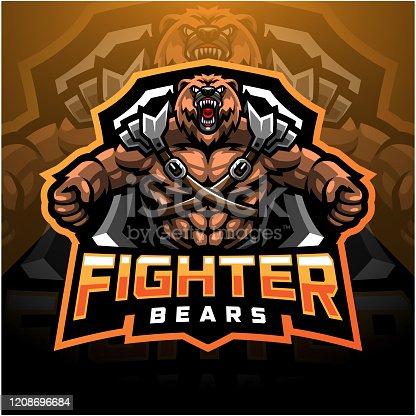 istock Bear fighter esport mascot logo 1208696684