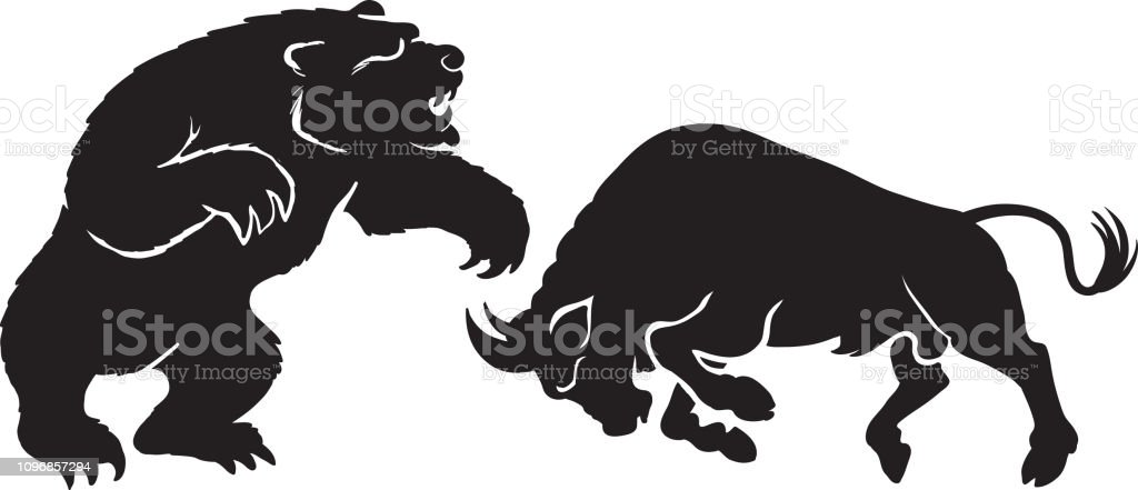 a bear fighting a bull in silhouette vector stock illustration - download  image now - istock  istock
