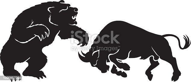 A bear fighting a bull in silhouette - Vector