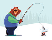vector illustration of bear fishing from can
