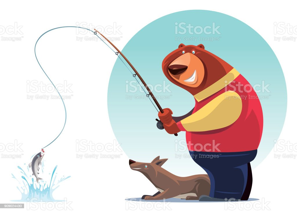 bear fishing with wolf vector art illustration
