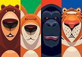 vector illustration of four animals - bear fox chimpanzee tiger