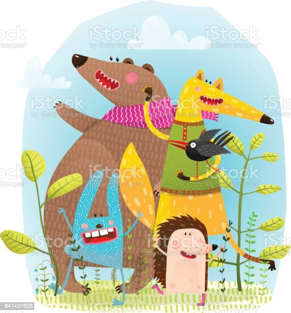 Bear fox hedgehog rabbit and crow funny friends vector id841437828?b=1&k=6&m=841437828&s=612x612&h=fjdncys mzradmbxg p3j1s0 gcdtfqhyachrusojo4=
