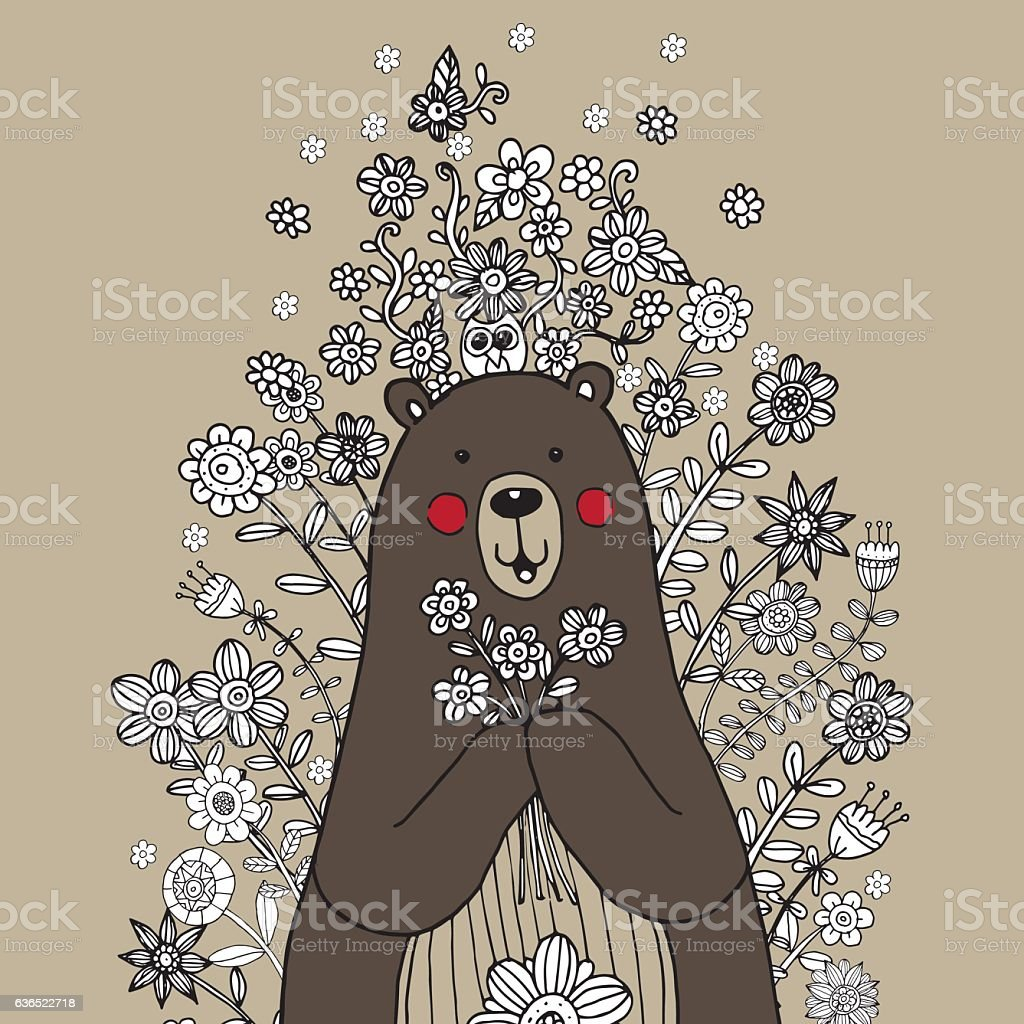 Bear freehand with flower doodle vector vector art illustration