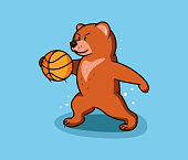 Bear funny, type. Sport wild animal  and emblem. Grizzly bear cub character with ball. Basketball badge, sticker, label on blue background isolated. Vector illustration
