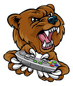 A bear video game player online sports gamer animal mascot holding a controller