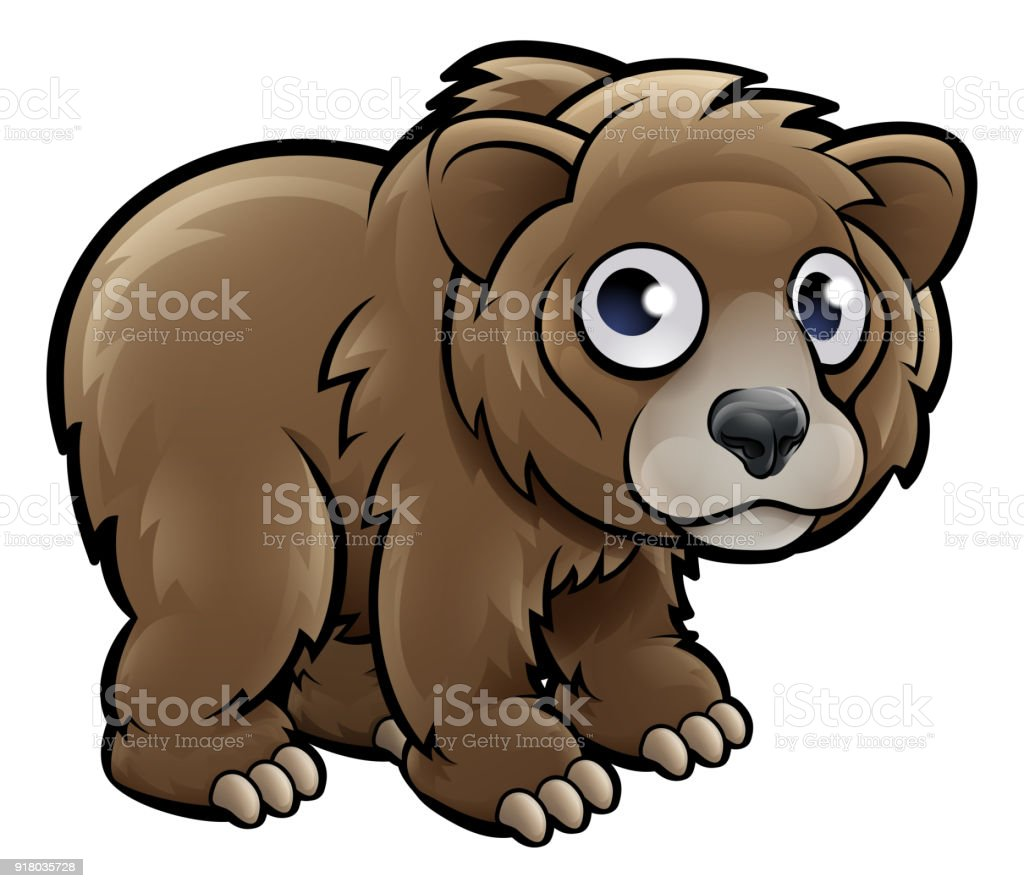 Bear Grizzly Animals Cartoon Character vector art illustration