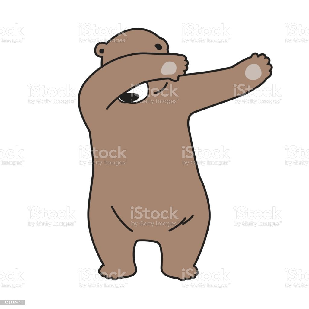 Ours grizzly dab danse dessin anim illustration - Dessin de grizzly ...