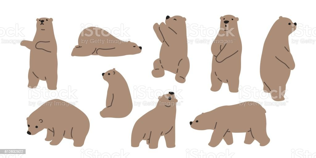 Ours grizzly ours teddy icône illustration doodle - Illustration vectorielle