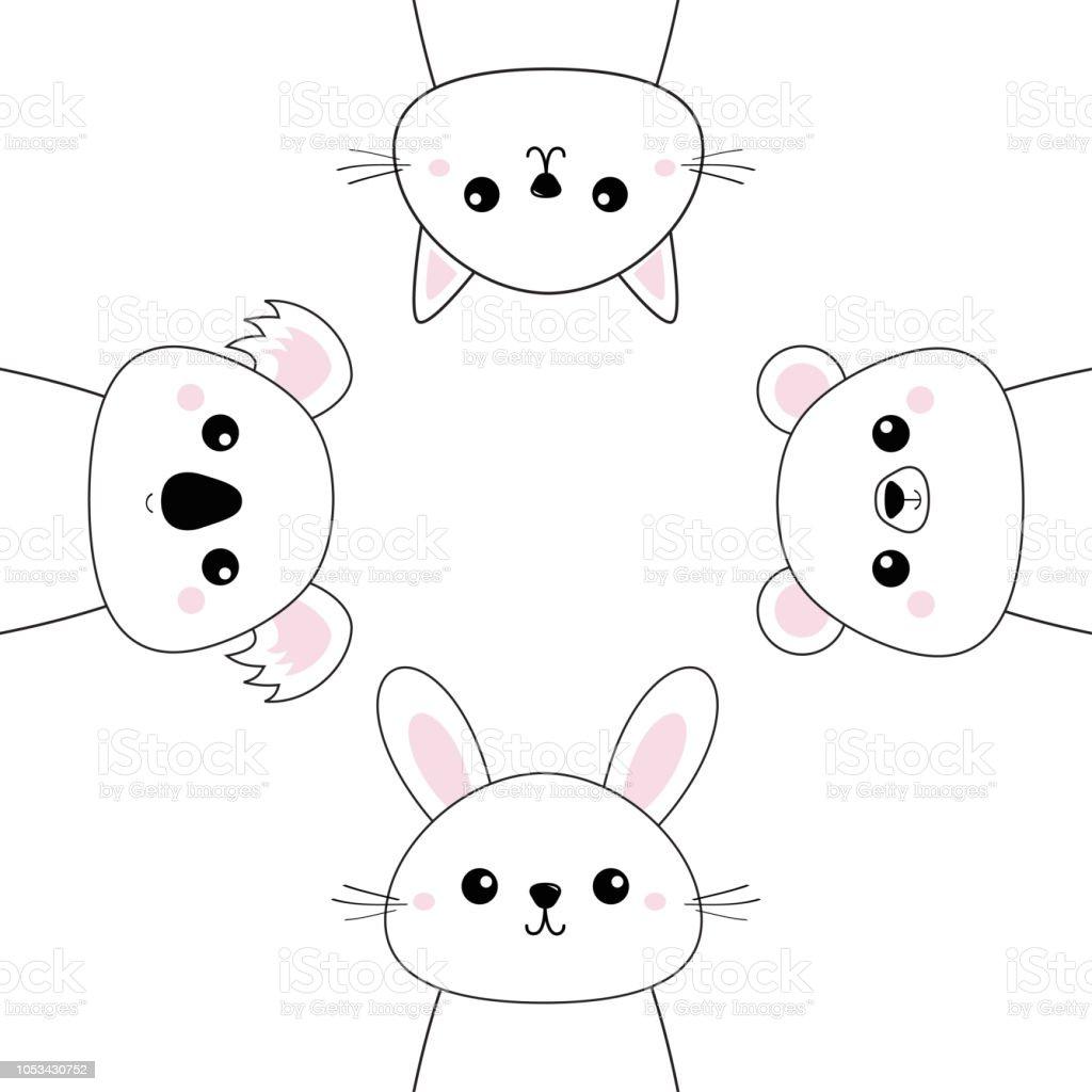 Ilustracion De Oso Grizzly Conejo Liebre Koala Gato Gatito La Cara