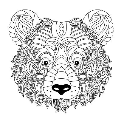 Bear head coloring book illustration