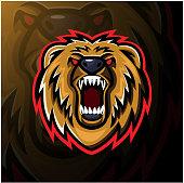 Illustration of Bear head esport mascot logo design
