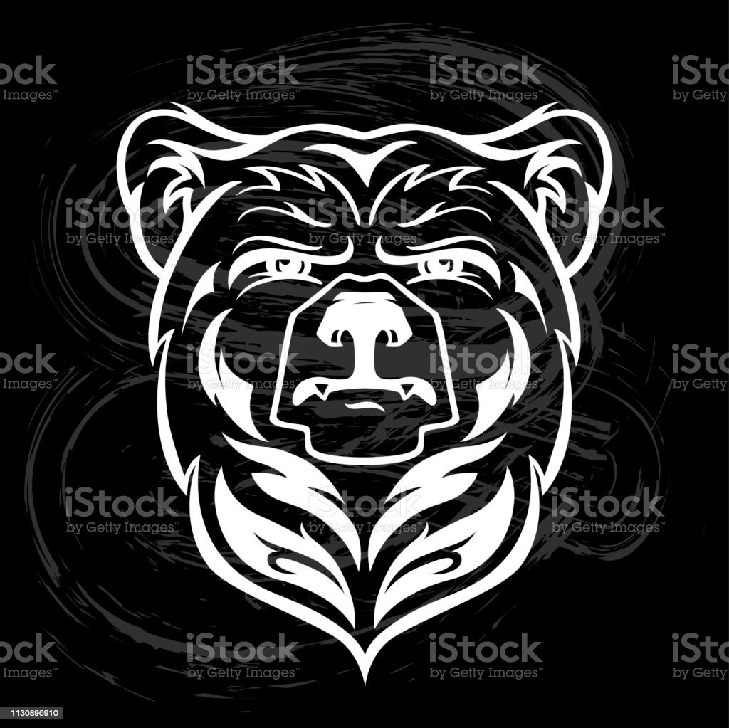Bear Head Mascot, vector bear logo, Hand drawn maori tattoo style,...