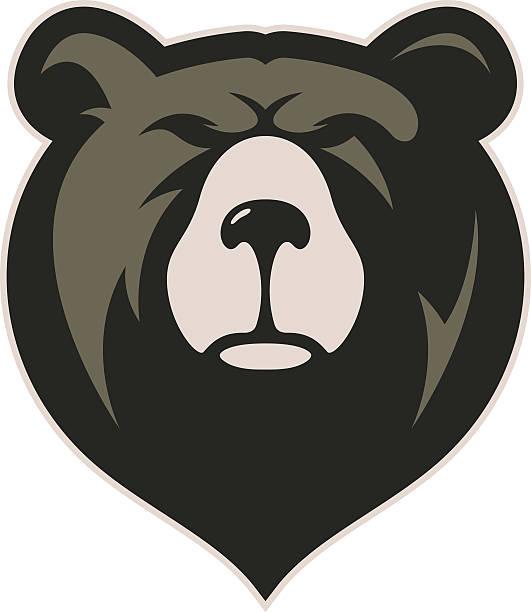 ilustrações, clipart, desenhos animados e ícones de cabeça de urso mascote - urso