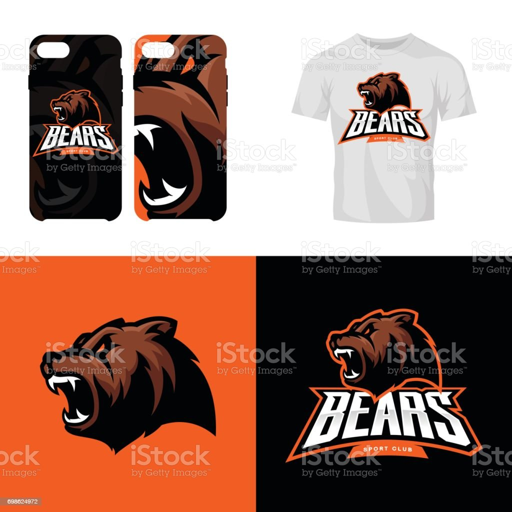 Bear head sport club isolated vector icon concept. vector art illustration