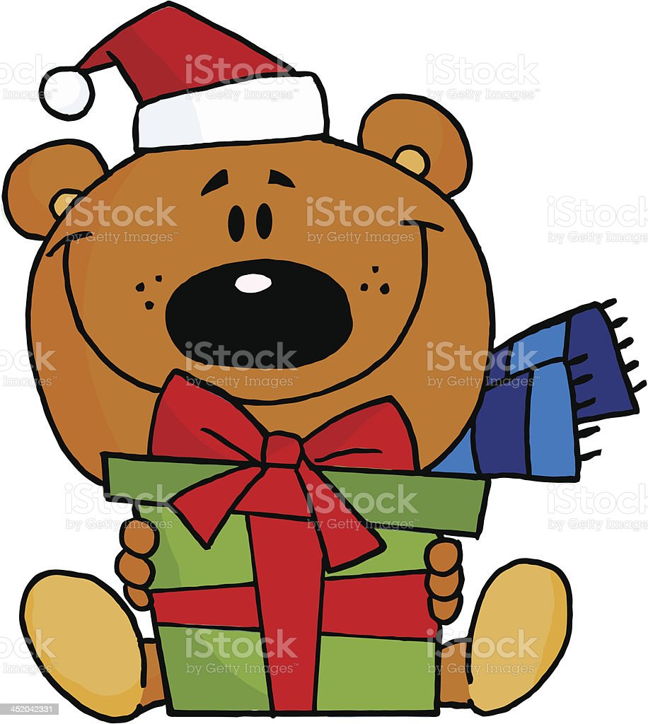 Bear Holding A Present royalty-free bear holding a present stock vector art & more images of animal