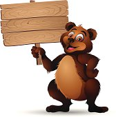 Bear holding a Wooden Sign