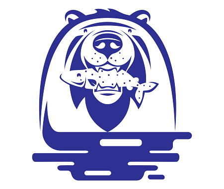 bear holding fish symbol