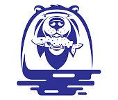 istock bear holding fish symbol 1266942695
