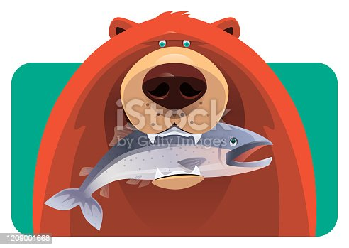 vector illustration of bear holding fish