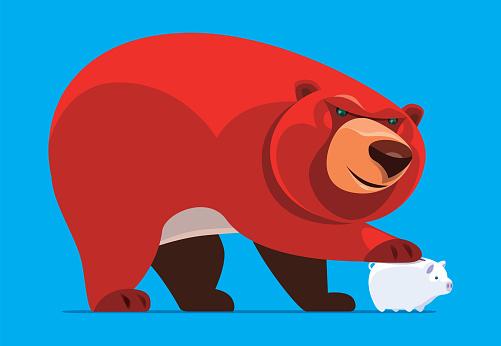 bear holding piggy bank