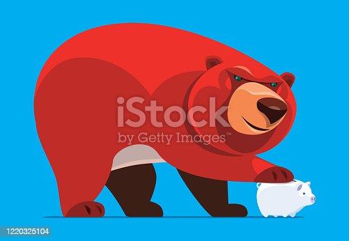 vector illustration of bear holding piggy bank