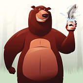 vector illustration of muscular bear holding canned salmon…