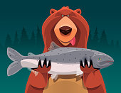 vector illustration of bear holding salmon