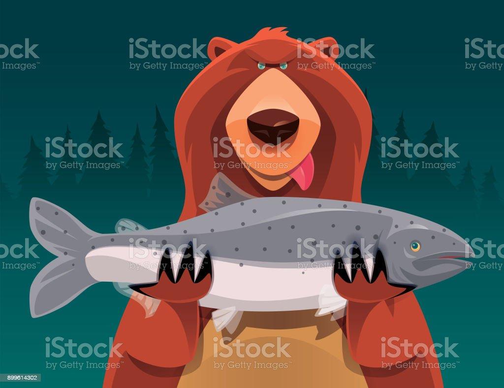 bear holding salmon vector art illustration