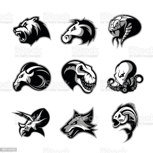 Bear horse snake ram fox piranha dinosaur octopus head isolated vector id695164052?b=1&k=6&m=695164052&s=612x612&h=4tsiyxp1a2wwv9fnfbughj v5kdbvhogz4sbo5dhmn4=