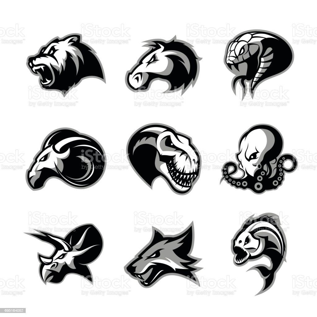 Bear, horse, snake, ram, fox, piranha, dinosaur, octopus head isolated vector  concept. – artystyczna grafika wektorowa