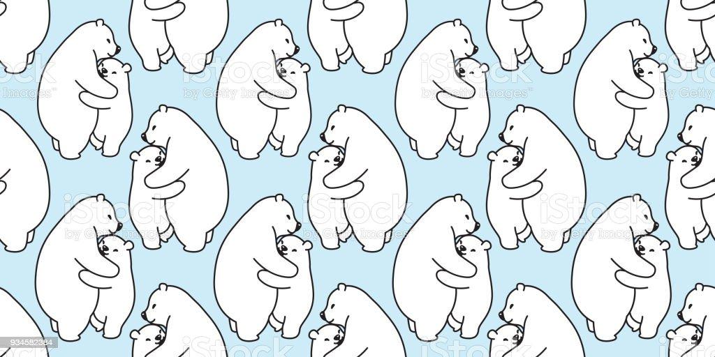 Bear Hug Musterdesign Eisbar Isoliert Vektor Panda Hintergrund