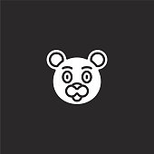 bear icon. Filled bear icon for website design and mobile, app development. bear icon from filled animal avatars collection isolated on black background.
