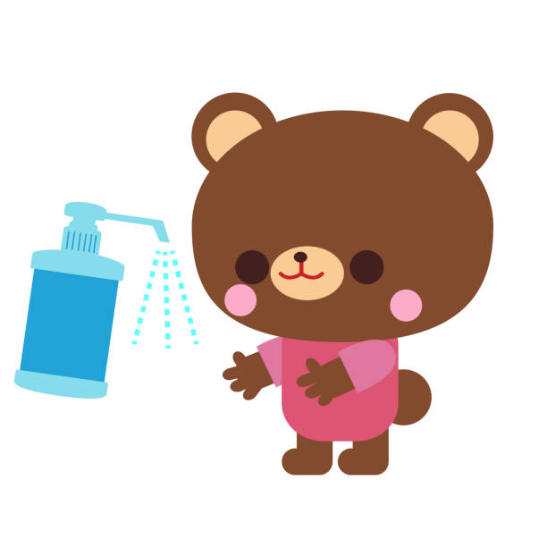 Bear illustration material to disinfect with alcohol vector art illustration