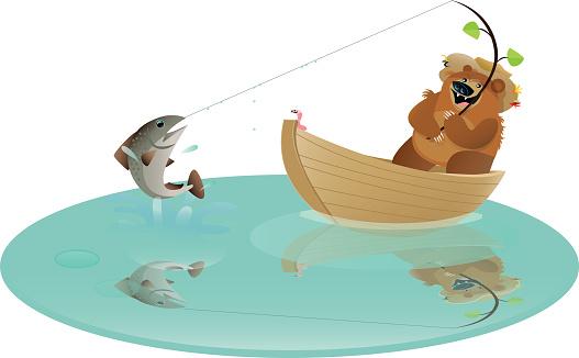Bear in a Boat Fishing