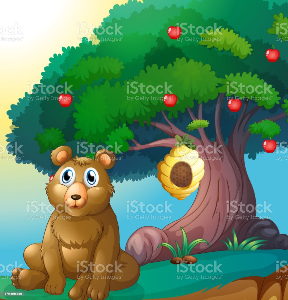 Bear in front of big apple tree with beehive royalty-free bear in front of big apple tree with beehive stock vector art & more images of animal