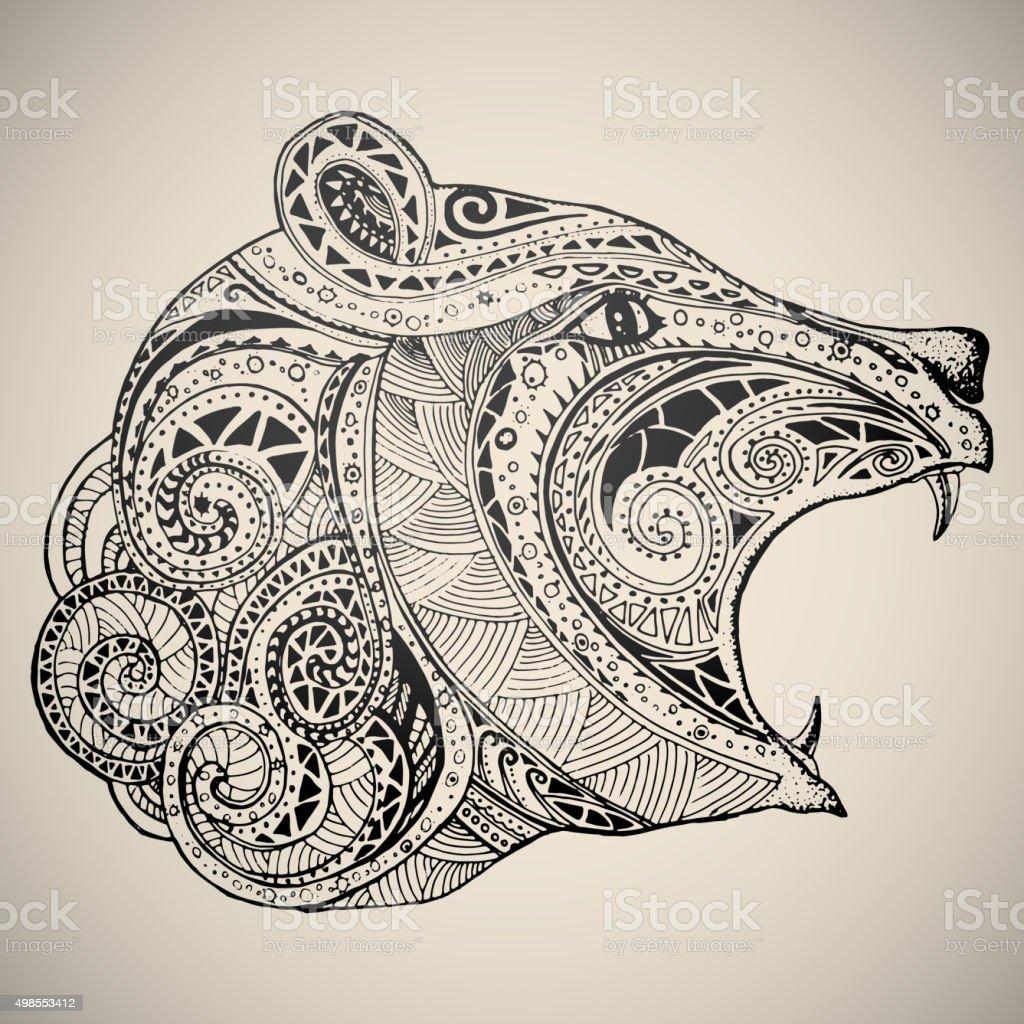 Gire en oriental tribal ornament. - ilustración de arte vectorial