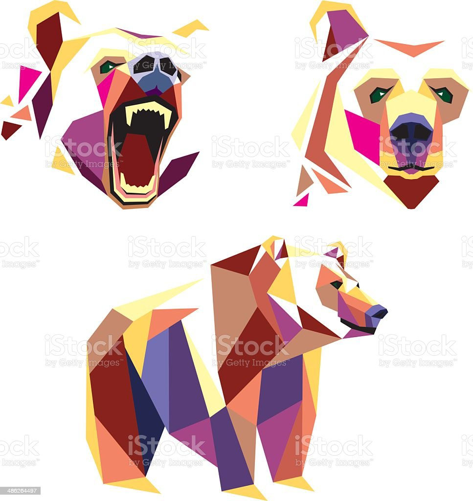 Bear in wpap style vector art illustration