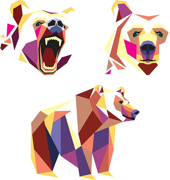 ilustraciones, imágenes clip art, dibujos animados e iconos de stock de gire en wpap estilo - oso